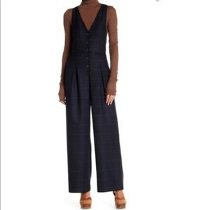 NWT Free People Windowpane Jumpsuit